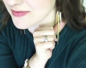 Gold Tassel Earrings Lucky Feather Charm