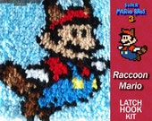 Raccoon Mario - Super Mario - Latch Hook Kit - DIY Latch Hook 7*7 Inches or 14*14 Inches