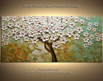 Painting on canvas Palette Knife art Spring Blossom thick texture by P. ready to hang