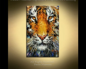Thick texture painting Tiger ABSTRACT animal  Palette Knife Texture floral art Nizamas wall decor