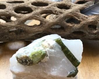 Green tourmaline in quartz