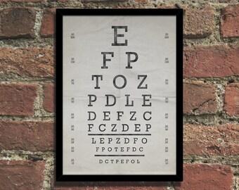 Vintage Eye Chart Steampunk Art Print Poster