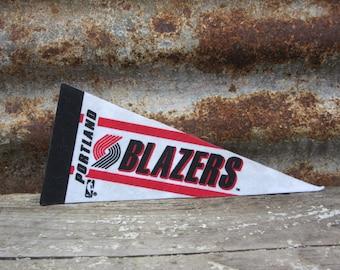 Vintage Basketball Pennant Portland Blazers Small 9 Inch 1990s Era NBA Mini Felt Pennant Banner Flag vtg Collectible Vintage Display Sports
