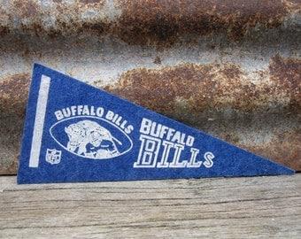 Vintage Football Pennant NFL Buffalo Bills 4x9 Inch Distressed Pennant Mini Flag 1980s Era Collectible Vintage Sports Stocking Stuffer