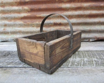 Antique Wood Box Handled Industrial Carrying Hod Tools Nails Metal Handled Storage Wood Box Home Made Early 1900s Era Vintage Wooden Crate