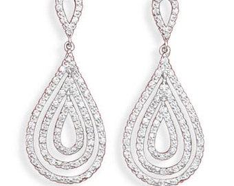 Sterling Silver Bridal Rhodium Plated Post Drop CZ Pear Drop Earrings