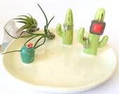Ceramic cactus jewelry tray, ring cone, ring tray, jewelry storage, jewelry display, cactus ring display