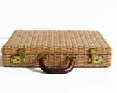 vintage woven briefcase laptop bag case with leather handle 1960s