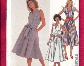 Vintage 1980's McCalls 2028 Bias Cut Flared Sun Dresses with Your Choice of Bodice Size 8 UNCUT