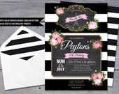 PARIS Invitation for Birthday Party - Vintage Paris, Chalkboard, Eiffel Tower - 7x5 Personalized File - DIY Printing
