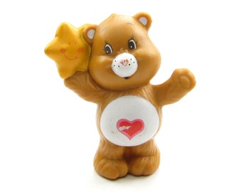 Tenderheart Bear with Star Care Bears Vintage PVC Miniature Figurine or Cake Topper