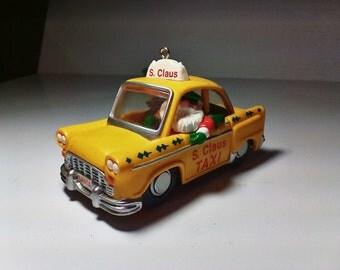 Vintage 1990 Hallmark TAXI Santa Claus Ornament Collectible