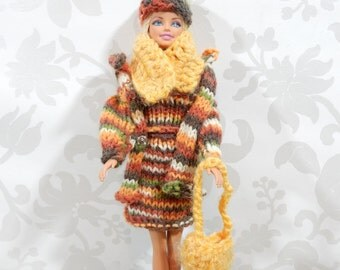 Vintage Fashion Knit Barbie winter outfit, dress, clothes, 1 outfit, beige and orange, with accessories