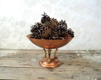 Copper fruit bowl, Pedestal Candy Dish, Jewelry box, change holder, metal