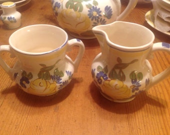 Red Wing Cream and Sugar Set, Hand Painted Brittany Pattern