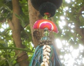 Coconut Lantern, Vintage Hmong Textiles, Decorative Bead Work, OOAK Lantern, Romantic Lighting, Folkart Decoration, Boho lantern