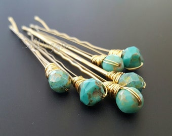 Bobby Pins Aqua Hair Pins Beaded Hair Pins Boho Accessories Green Turquoise Hair Pins Wedding Accessories Bridal Hair