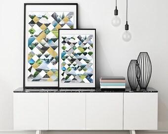 Geometric Nature Print – Digital, Printable Download, Art, Wall Art, Home Decor, Digital Download, Print