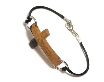 Sideways Cross Bracelet - Handmade Wooden Cross Bracelet - Striped Ebony Hardwood