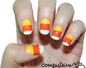 Candy Corn Nail Wraps. Halloween Nail Decals.