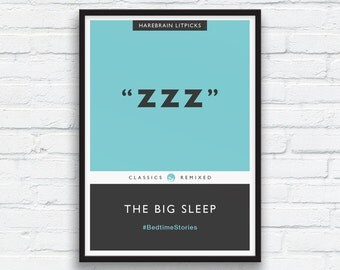 ZZZ, The Big Sleep Penguin Classics Parody Print, Aqua Decor, Charcoal black art, Book Cover art, Bedroom wall art, ZZZ Print, Printable Art