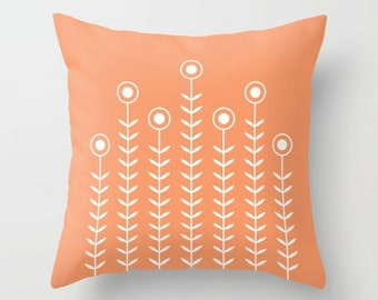 36 colours, Minimalist Flowers Decorative Pillow, Peach Rose decor, Nordic Scandinavian style, Faux Down Insert, Indoor or Outdoor cover