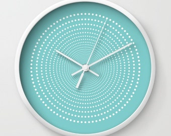 36 colours, Aqua Sky, Vortex Pattern Wall Clock, White dots wall clock, Geometric Pattern Modern Wall Art, Designer Wall Clock, Minimalist