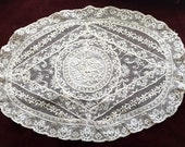 Vintage Normandy Lace Doily, Original Made in France tag.