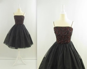ON SALE 50s Tulle Party Dress - Vintage 1950s Black Sequined Prom Dress - XSmall by Jr Theme