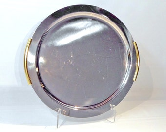Stainless Steel and Gold Serving, Bar Tray