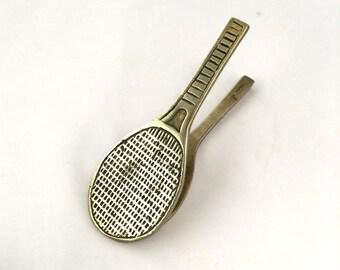 Tennis Racket Brass Desk Clip, Desk Organizer