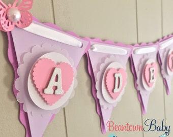 Lavender Baby Shower Banner, Lavender and Pink Baby Shower Banner, Custom Baby Shower Banner, Polka Dot Baby Girl Banner - MADE TO ORDER