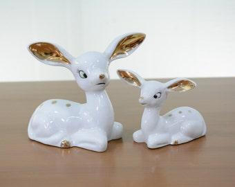 Mid Century Porcelain Gold and White Chase Deer Figurines