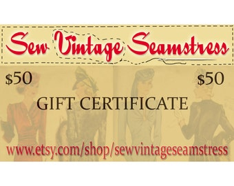 Sew Vintage Seamstress Gift Certificate