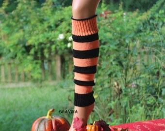 Legwarmers Child Orange/Black Stripe 15 inches.