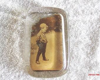 "Photo glass paperweight, ""An Unexpected Guest"" theme, Photo of boy and chickens in yard, Vintage paperweight, Vintage photos...."