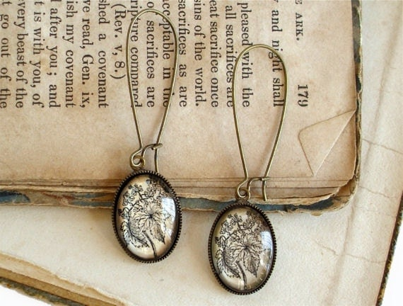 Beer Hops Earrings - Antique Botanical Print Dangle Earrings in Brass - Beer Jewelry