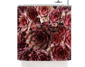 Shower Curtain, Red Succulent Cactus Shower Curtain, Maroon Red Southwestern Desert, Bathroom Decor, Bathroom Art, Cactus Art