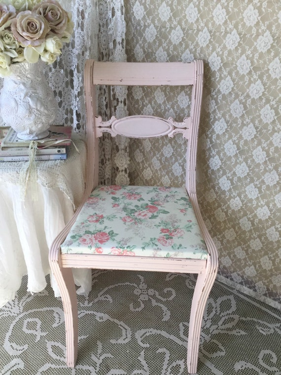 Shabby Pink Carved Rose Chair Vanity Chair Pink and white