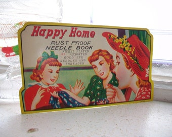 Vintage Needle Book 1940s Happy Home
