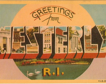 Linen Postcard, Greetings from Westerly, Rhode Island, Large Letter, ca 1950