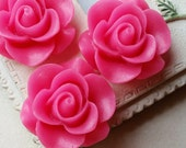SPECIAL OFFER 21 mm Hot Pink Color Rose Resin Flower Cabochons (.am)