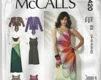 McCall's  M6559/MP420 SIZE MISSES 14-2 Pullover Tank Dress with Tie-End JacketUncut Factory Folded