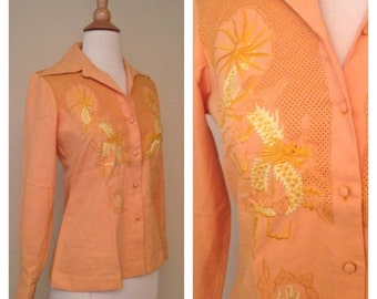 ON SALE Vintage 70s Womens Mustard Yellow Button Up with Traditional Japanese Dragon Great for Tattoo Art Lovers Size Small