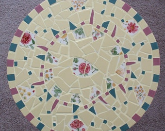 Mosaic Table Top Yellow Flowers Floral Vintage Plates