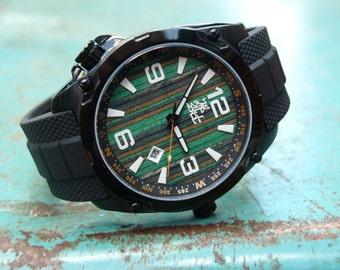 Recycled Skateboard Watch - Blue & Green