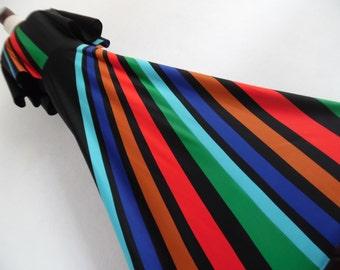 EMBRACED BY THE RAiNBOW . Sensational Colorblock Color Block Op Art Modernist Futuristic Space Print Maxi Dress 70s M