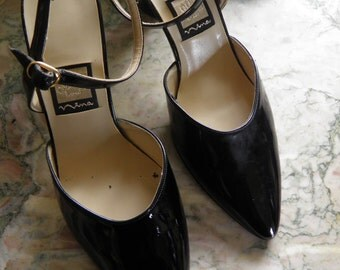 Black French Patent Leather Heels, Ankle Strap.  8 1/2M