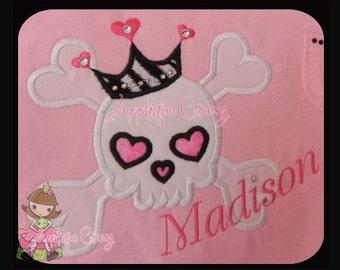 Girl Crossbones with crown Applique design