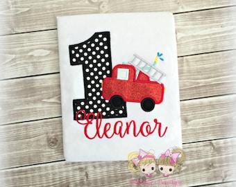Girls fire truck birthday shirt - fire engine birthday shirt - 1st birthday fire truck shirt - custom birthday shirt - emergency vehicle